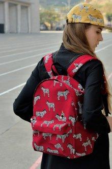 Красный рюкзак с зебрами