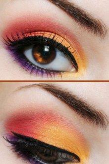 Красно-желтый макияж