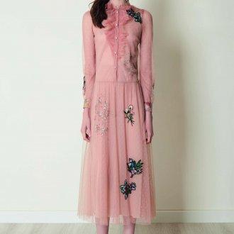 Valentino red платье с вышивкой