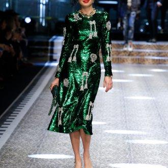Дольче габбана осень зима 2019 зеленое платье