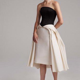 Коктейльное платье 2020 черно-белое