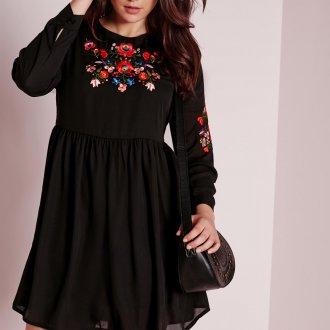 Вечернее платье для полных черное с вышивкой