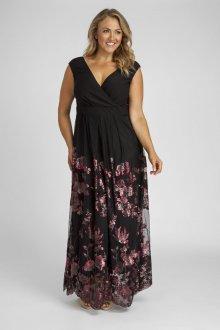 Вечернее платье для полных с цветами