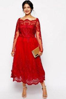 Вечернее платье для полных красное кружевное