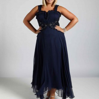 Вечернее платье для полных синее