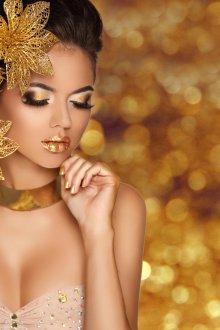 Макияж для фотосессии золотой