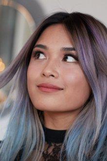 Мелирование 2019 цветное на темные волосы