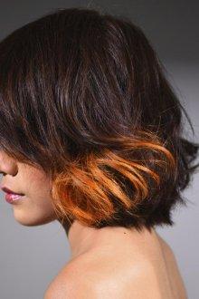 Омбре 2019 оранжевое на короткие волосы