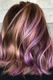 Мелирование волос в фиолетовый 2019