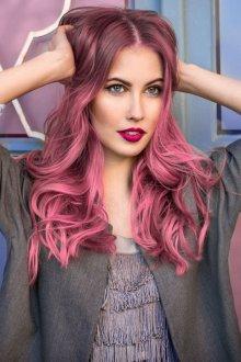 Окрашивание волос 2019 розовое