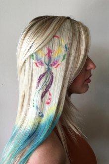 Трафаретное окрашивание волос 2019 цветное