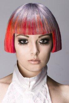 Трафаретное окрашивание волос 2018 в красный