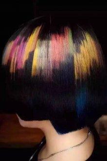 Трафаретное окрашивание темных волос 2018