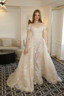 Свадебное платье 2020 бежевое с белой вышивкой