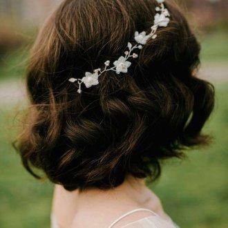 Свадебная прическа 2018 на короткие волосы кудрявые