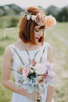 Свадебная прическа 2019 на короткие волосы рыжие