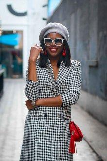 Платье пиджак черно-белое