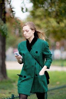 Платье пиджак зеленое в гусиную лапку