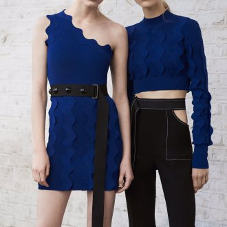 Платье футляр синее асимметричное