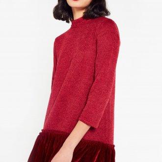 Платье вязаное с бархатом