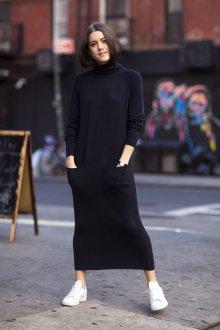 Платье вязаное черное макси