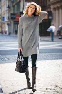 Платье вязаное серое мини