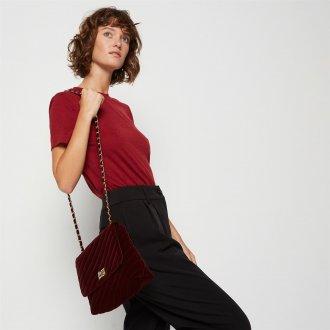 Бордовая сумка бархатная