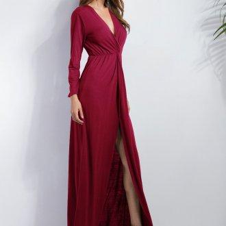 Платье с разрезом повседневное бордовое