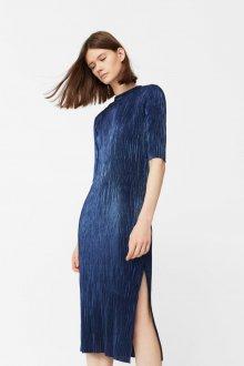 Платье с разрезом синее
