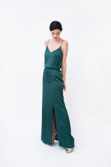 Платье с разрезом зеленое