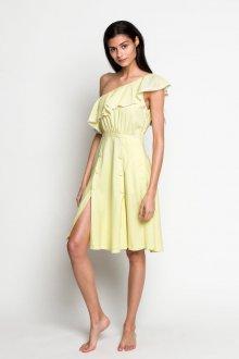 Платье с разрезом желтое