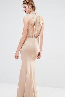 Платье с открытой спиной бежевое