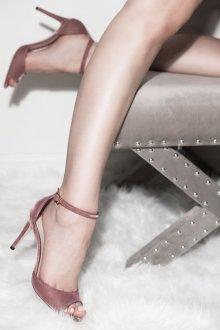 Туфли вечерние нюдовые бархатные