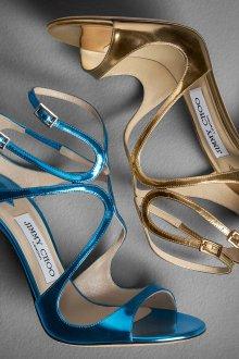 Туфли вечерние голубые металлик