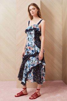 Платье с принтом цветочным асимметричное