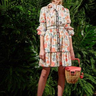Платье с принтом цветочным на пуговицах