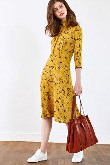 Платье с принтом цветочным желтое