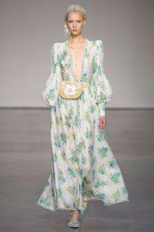 Платье с принтом и декором длинное