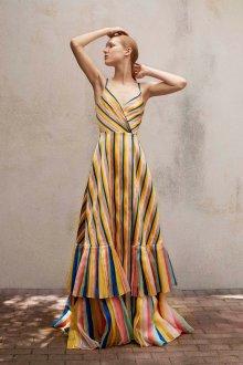 Платье с принтом длинное полосатое
