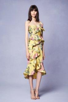 Платье футляр с принтом и воланами