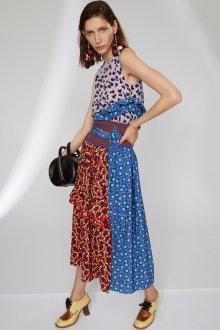 Платье с принтом комбинированное