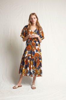 Платье с принтом крупным терракотовым