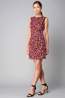 Платье с принтом леопардовым красное