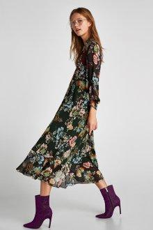 Платье с принтом цветочным миди