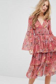 Платье с принтом миди розовое