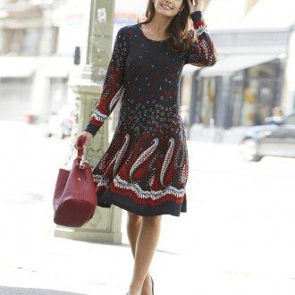 Платье с принтом миди трикотажное
