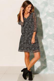 Платье с принтом мини черное