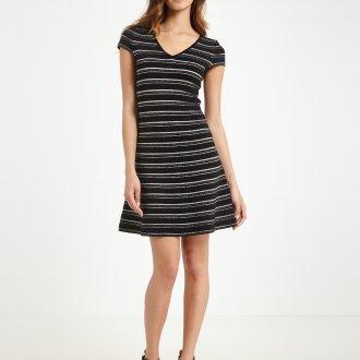 Платье с принтом мини полосатое
