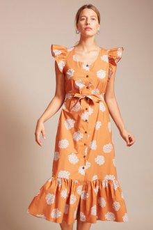 Платье с принтом оранжевое