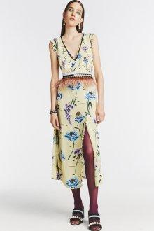 Платье с принтом и перьями